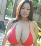 Busty asian fuko posing her humongous boobs in several outfits.