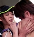 A really must see scenehitomi tanaka performes a great suc for two guys her boobs are amazing bouncing.