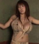 Harada orei posig in a very libidinous bikini her huge tits.