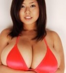 Japanese fuko posing huge tits in red bikini.