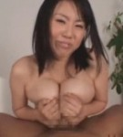Busty asian porn star rin aoki titty fuck a dildo and a large penish japanese guy.