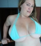 Another great set featuring silvia calabresa this hot latian with giant breasts poses in a very small blue bikini.