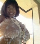 Fuko in excited lingerie posing her giant tits and taking a hot bath.